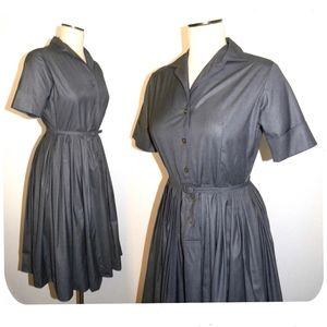 VTG 50s 60s FULL SKIRT Shirt Dress Gray Adelaar S